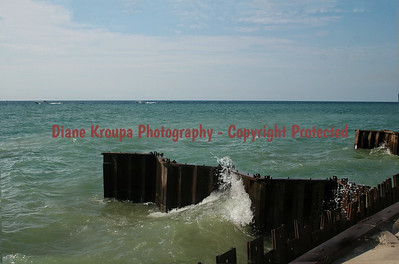 Breakwater at Point Betsy, Lake Michigan.  Photo# 6484