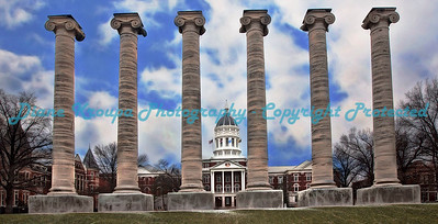 Columns at Mizzou - Missouri University, Columbia, Missouri.  Photo# 217