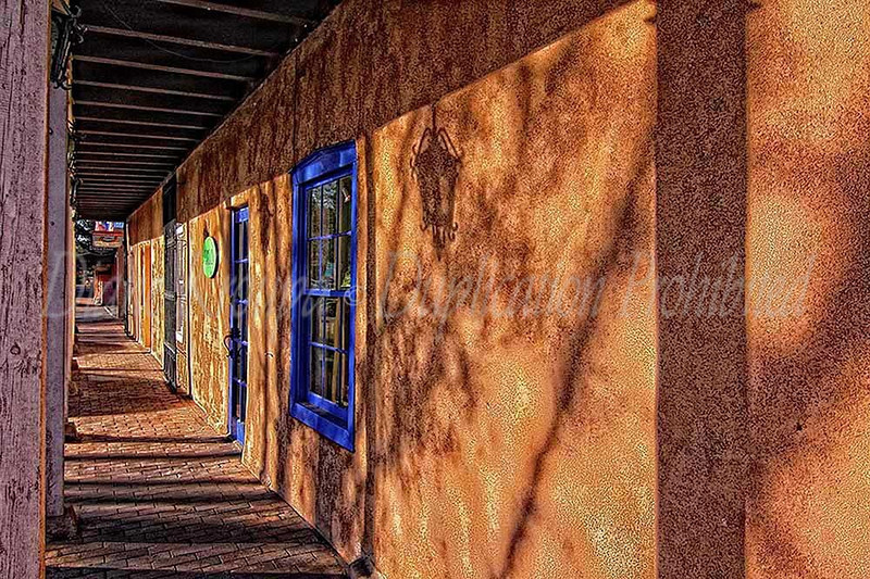 Wooden walkway to shops - downtown Mesilla, New Mexico.  Photo #DE207