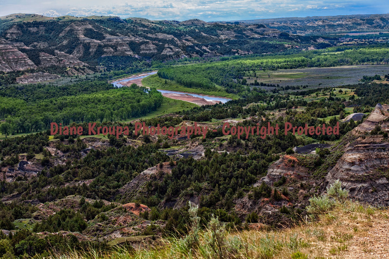 Theodore Roosevelt National Park, North Dakota.  A lovely scenic overlook with the Little Missouri River winding through the area.  Photo# 65