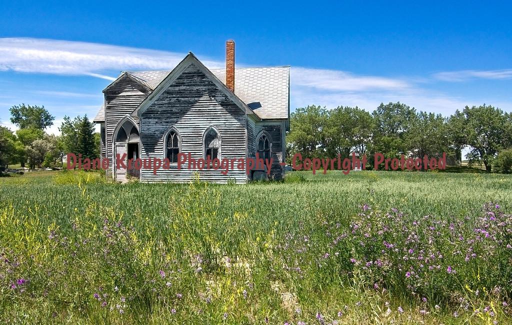 North Dakota Ghost town - old abandoned church, Crystal Springs, North Dakota    Photo# 32