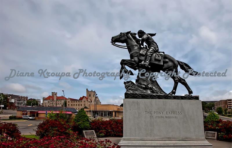 Pony Express Monument in St. Joseph, Missouri.  Photo #1860