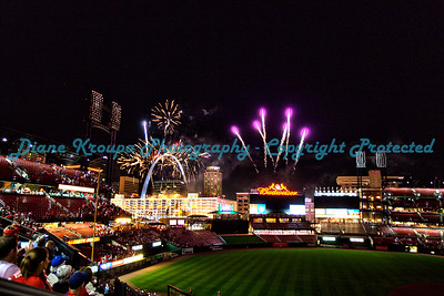 Fireworks night, Bush Stadium, Arch, St. Louis, MO  Photo# 393