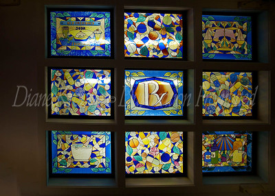 There was even a gorgeous stained glass sky light above the greeting card displaying various facets of the pharmacy business.  Photo #126