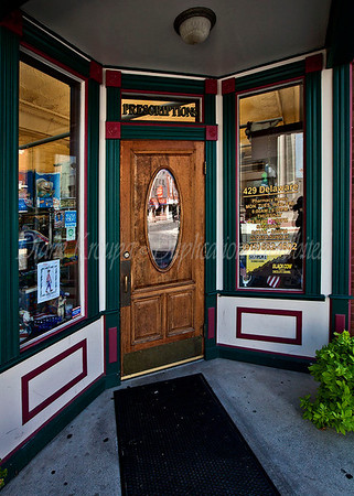 The Corner Pharmacy main entrance on the corner directly to the pharmacy area in Leavenworth, Kansas.   This pharmacy has been at this location for over 130 years.  The present pharmacist and owner, Ron Booth bought the pharmacy in 1980 and restored the store with meticulous attention to detail and authenticity.  The food is as good as it gets and visiting this nostalgic store was a trip down memory lane for me.  I  hope to return again soon and try their signature, old time flavor hamburgers or hot dogs.  Photo #106