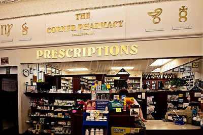 The pharmacy area of The Corner Pharmacy, Leaveworth, Kansas.  Photo #193