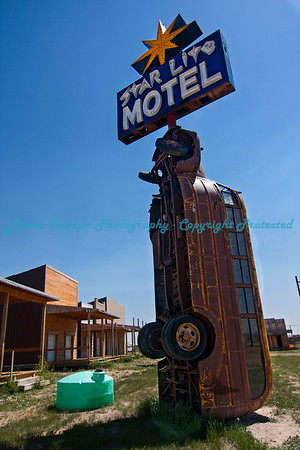 Motel marquee in front of motel rooms at Full Throttle Saloon, Vale, South Dakota   Photo #357