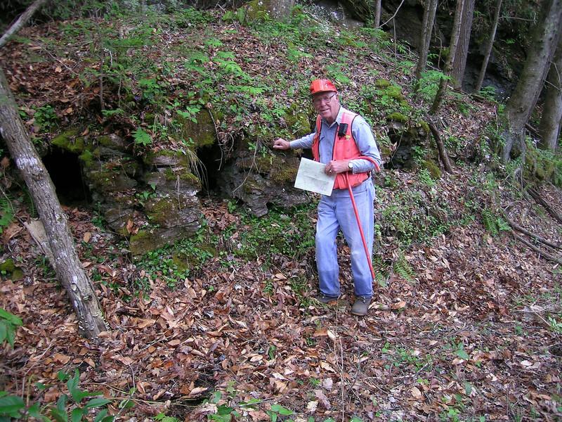 Phil at the lime kilns along <br /> Bearwallow Creek