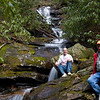 Harry and Mtnimages at waterfall on Johnnies Creek
