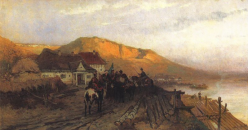 Йозеф Брандт. Над Дністром. 1875ю Олія на полотні 31,5 x 63,5 см