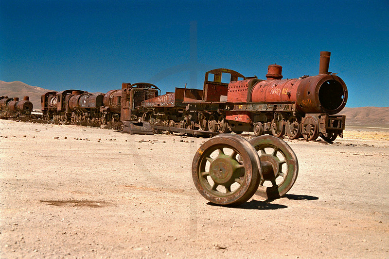 Train cemetery near Uyuni, Bolivia