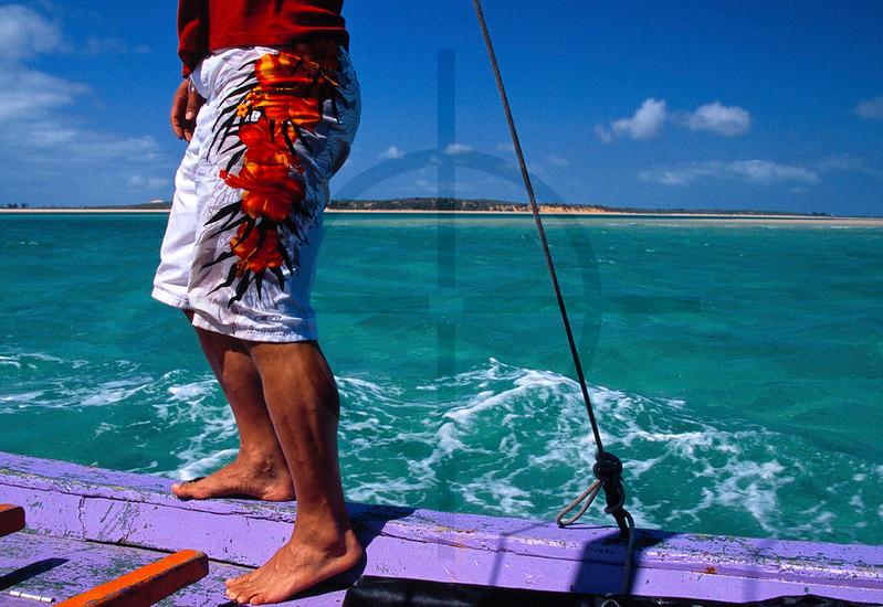 Person on a dhow, Bazaruto Islands, Mozambique