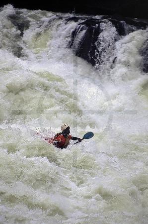 Whitewater kayaking on the Zambezi River, Zambia