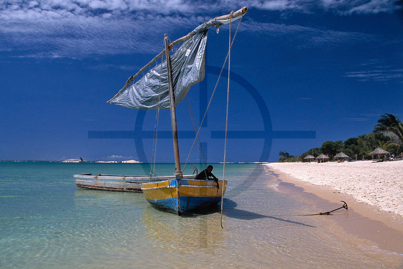 Moored dhow, Benguerra island, Bazaruto Archipelago, Mozambique
