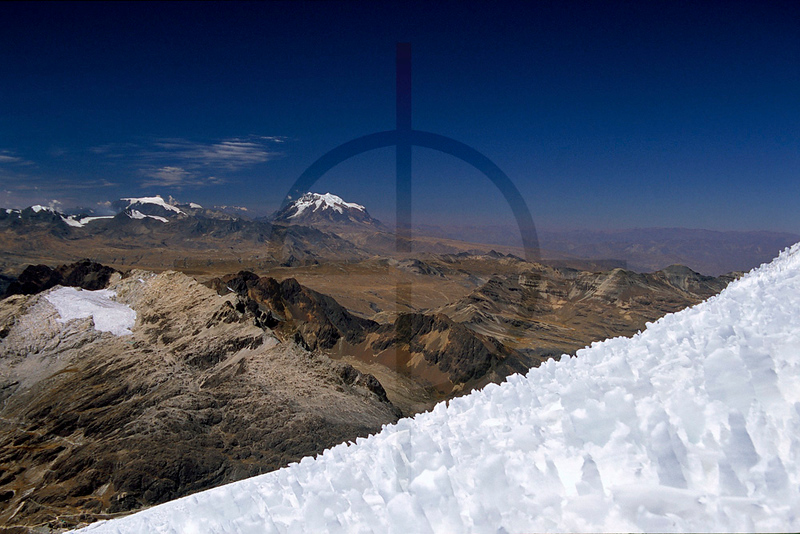 Illimani as seen from Huayna Potosí, Altiplano, Bolivia