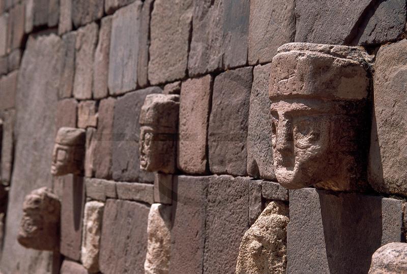 Stone faces, Sunken Temple, Tiwanaku, Bolivia