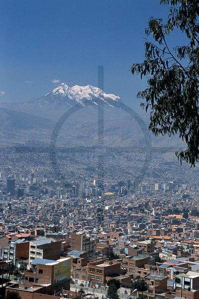 La Paz and Nevado Illimani, Bolivia