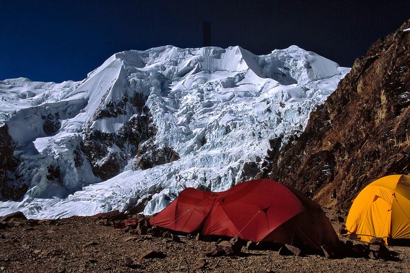 tents at Illimani high camp, Cordillera Real, Bolivia
