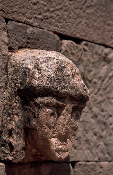 Stone face, Sunken Temple, Tiwanaku, Bolivia