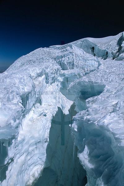 Crevasse, upper reaches of Huayna Potosí, Bolivia