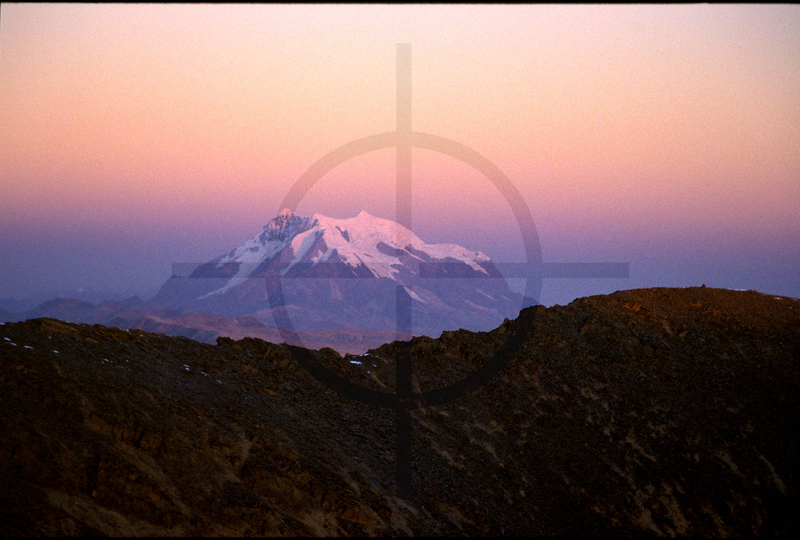 Illimani at dusk as seen from Chacaltaya, Bolivia