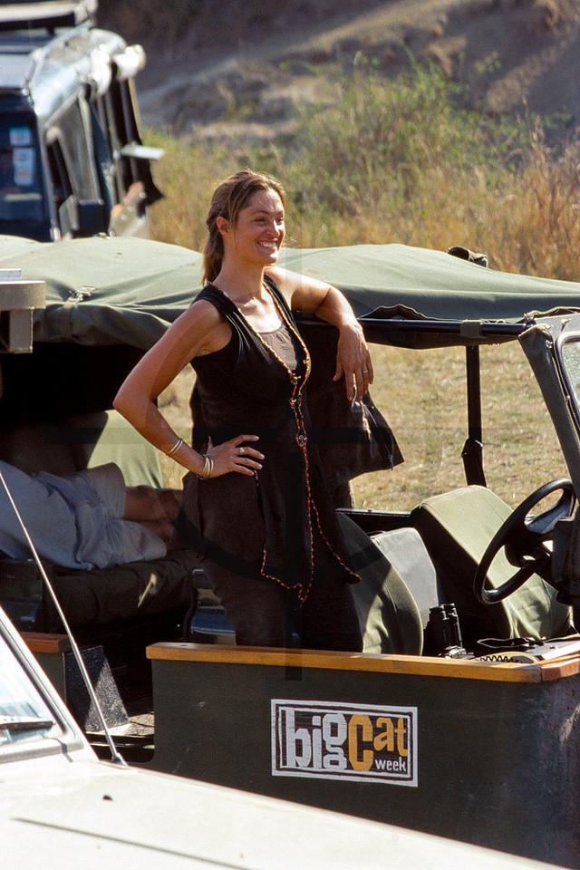 Saba Douglas-Hamilton at work for Big Cat Week, Masai Mara National Reserve, Kenya