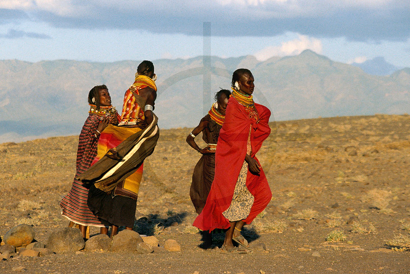 Turkana women on the move, near Loyangalani, Lake Turkana, Kenya