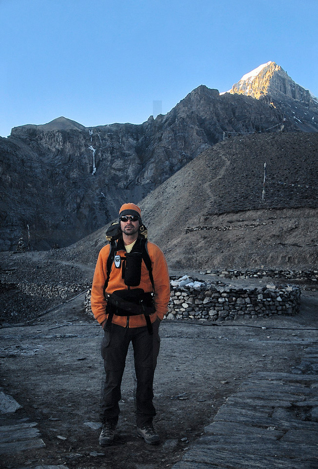 Hiker at Thorung High Camp early in the morning, Annapurna Circuit, Nepal