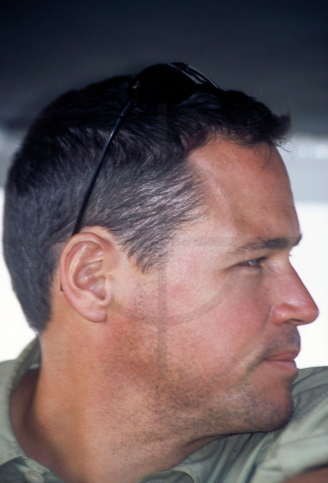 Jeff Corwin on safari for a documentary on lions, Samburu National Reserve, Kenya