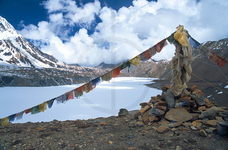Tilicho Lake frozen over, Annapurna Massif, Nepal