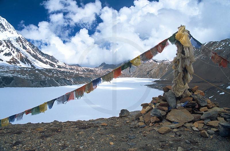 Tilicho Lake frozen over, Annapurna Massif, Nepal