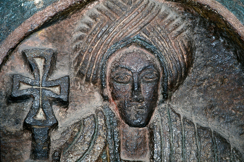 Bas relief of a saint in a rock hewn church, Lalibela, Northern Ethiopia