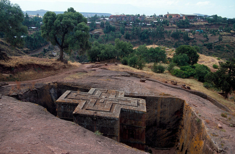 Bet Giyorgi and the town of Lalibela in the background, Northern Ethiopia