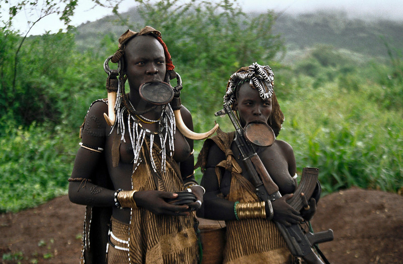 Mursi women, Mago National Park, Lower Omo Valley, Southern Ethiopia