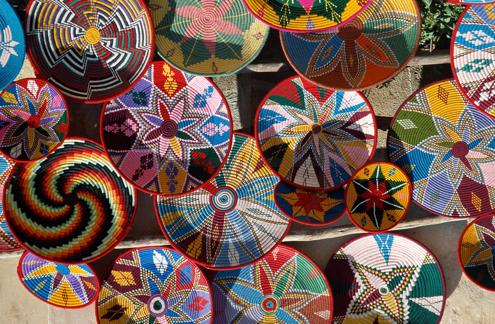 Colorful baskets at a market, Axum, Northern Ethiopia