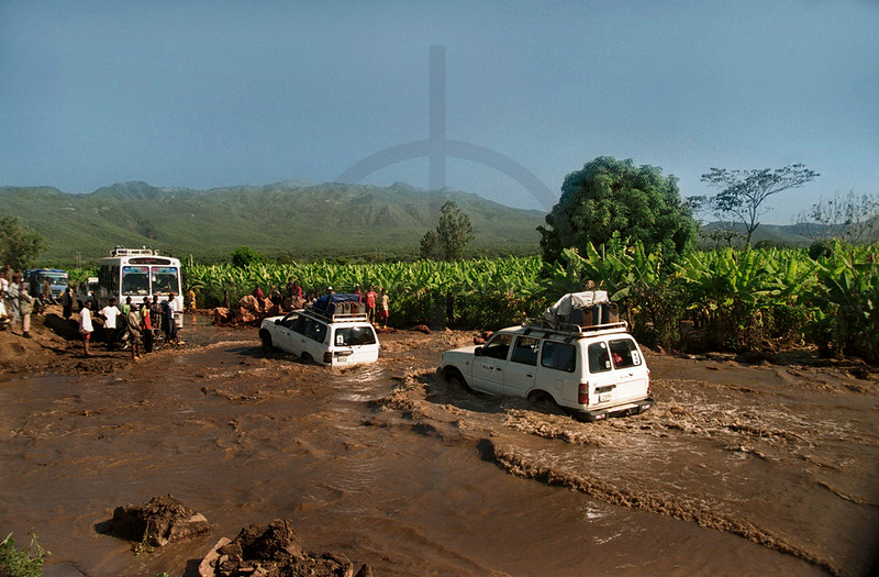 Driving on a flooded road, Southern Ethiopia