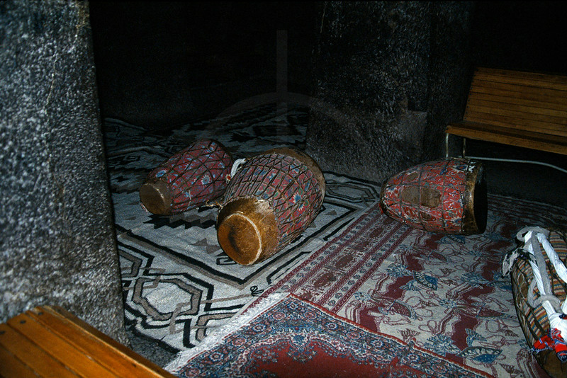 Drums on the floor of a Christian rock hewn church, Lalibela, Northern Ethiopia