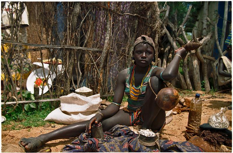 Market vendor selling beans, Dimeka, Southern Ethiopia