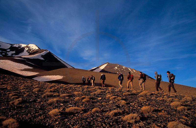 Trekking group heading for the top of Mount M'Goun, High Atlas, Morocco