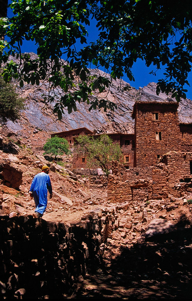 Local walking to a village, M'Goun area, High Atlas, Morocco