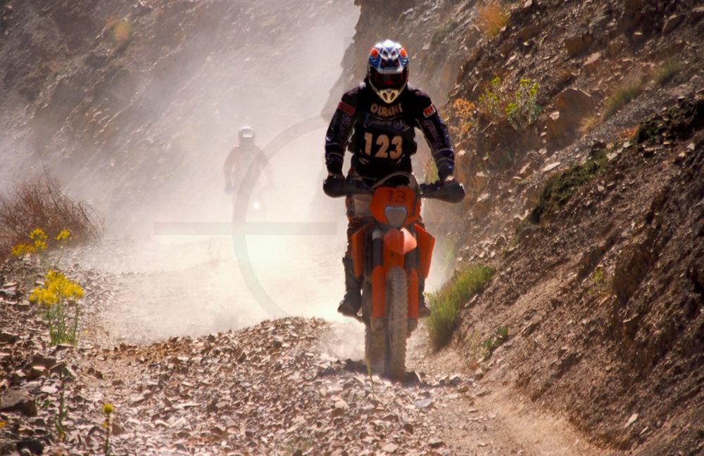Off-road motocyclists, M'Goun area, High Atlas, Morocco