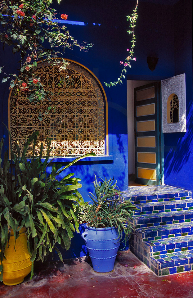 Patio and villa of Jardin Majorelle, Marrakesh, Morocco