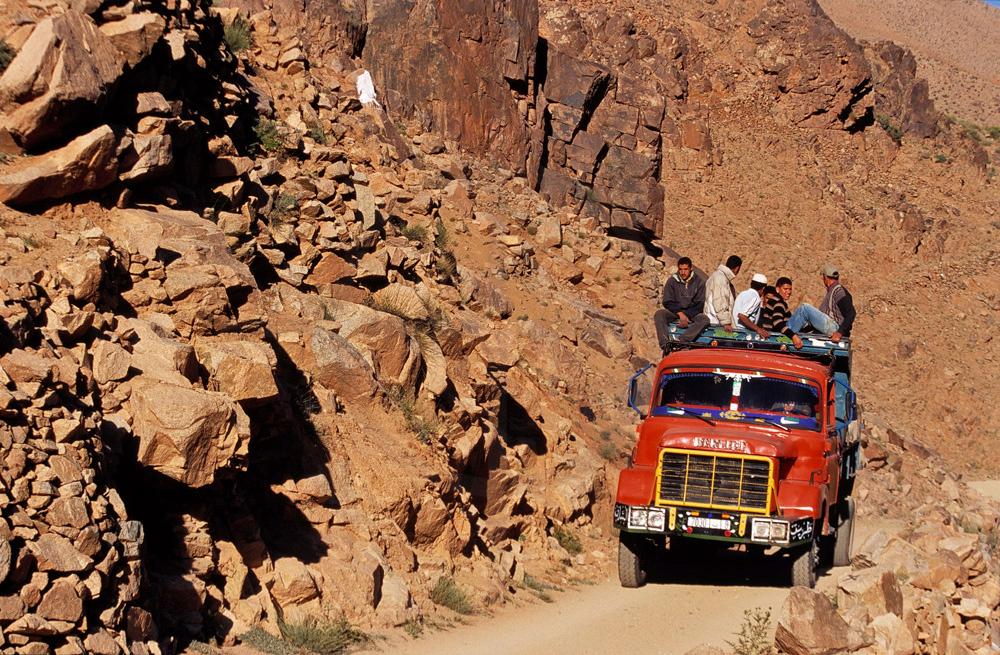 Truck on mountain road, High Atlas, Morocco