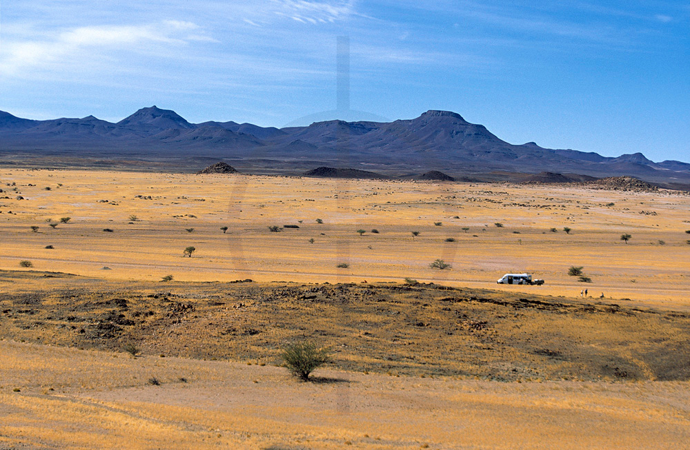 Vehicle in an empty landscape, Namibia