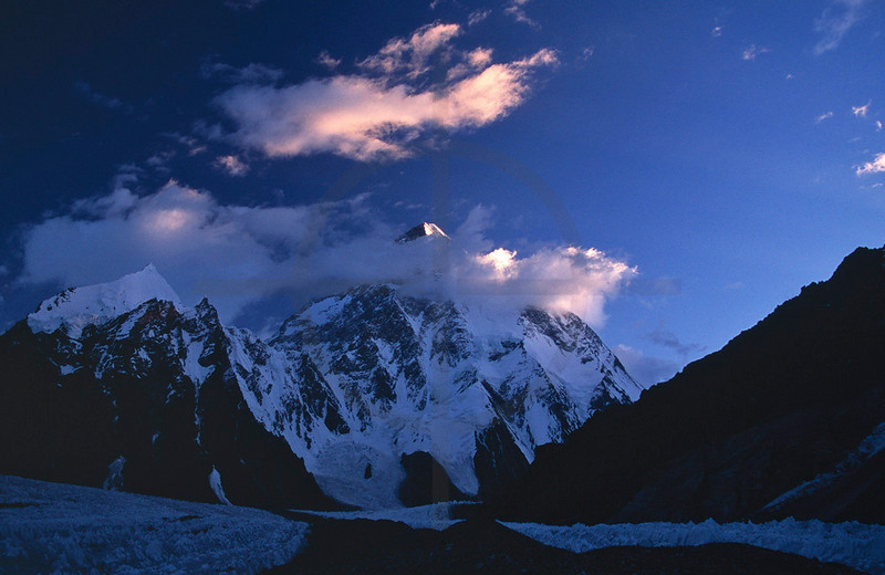Last light on K2, Karakoram Range, Baltistan, Pakistan