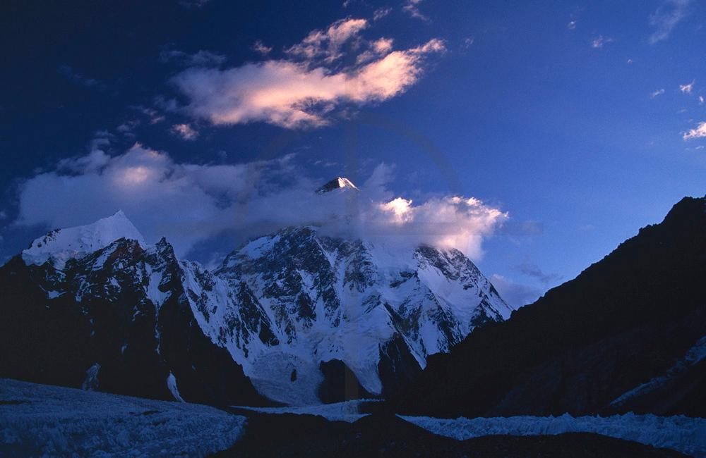 Last light on K2, Karakoram Range, Baltistan, Pakistan