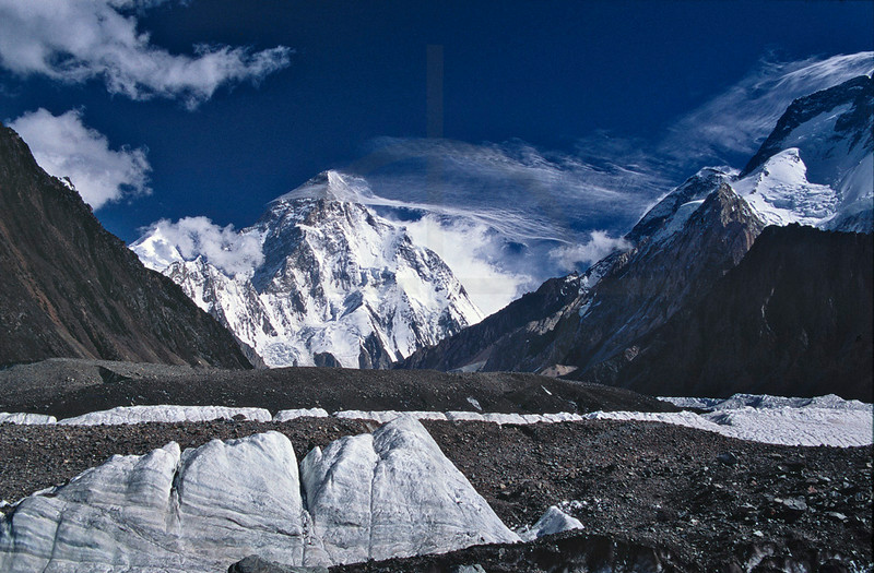 K2 in high winds as seen from Concordia, Baltistan, Pakistan
