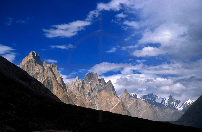 Jagged peaks above the Biaho River, Karakoram Range, Baltistan, Pakistan