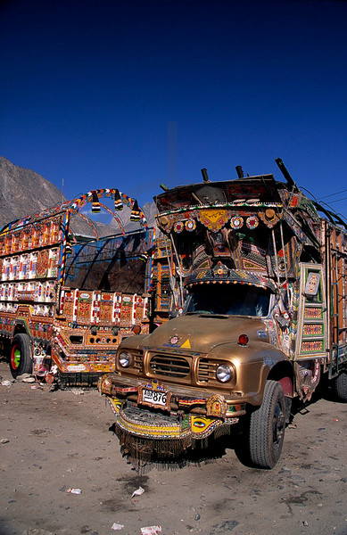 Trucks at the side of the Karakoram Highway, Pakistan