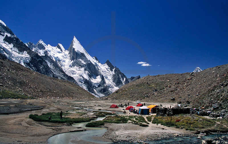Camp in Hushe Valley near Gondogoro Glacier with view of Laila Peak, Baltistan, Pakistan
